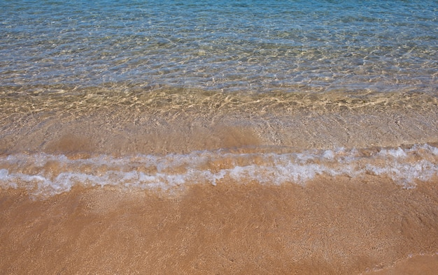 Sandy beach and tropical sea colorful ocean beach landscape of clear turquoise water and gold sand m...