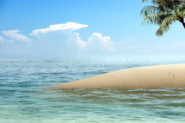 Sandy beach with the blue ocean and blue sky background