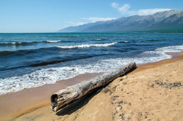 Песчаный берег байкала. усть-баргузин