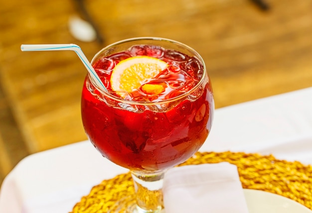 Sangria, spanish drink- red wine and fruit
