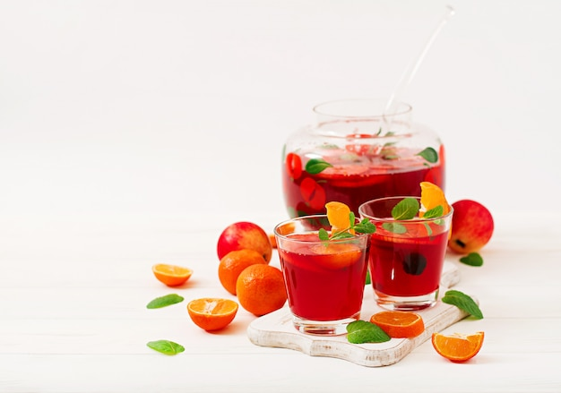 Sangria with fruits and mint