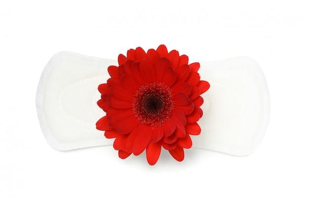 白い表面上に分離されてガーベラと生理用ナプキン
