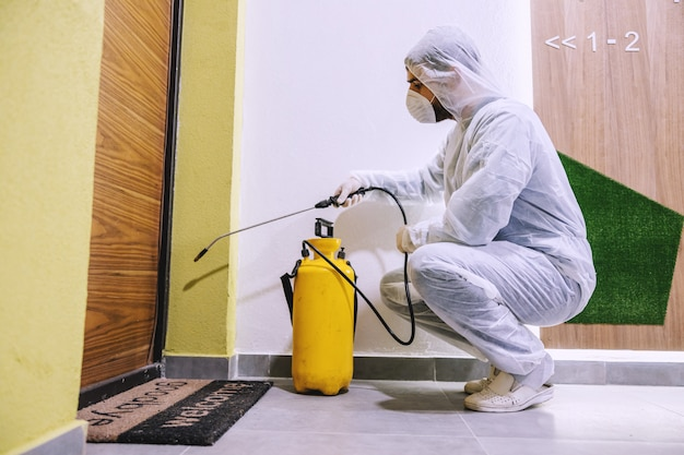 Sanitizing interior surfaces. cleaning and disinfection inside buildings