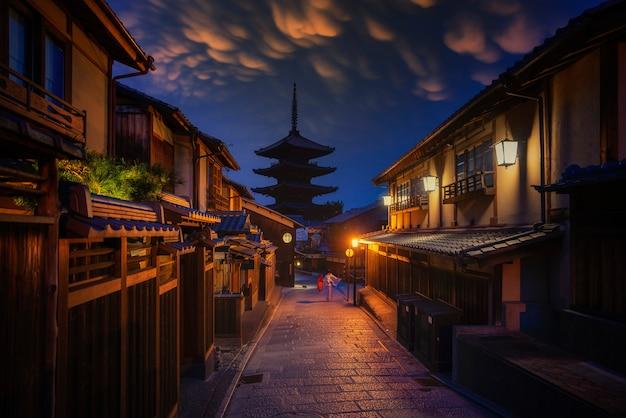 And sannen zaka street in kyoto, japan.