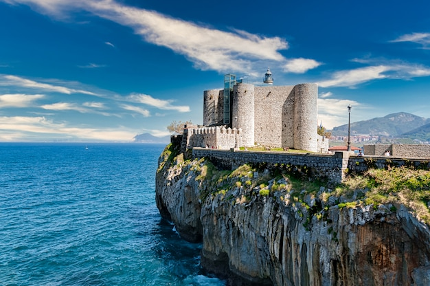 Santa ana castle at castro urdiales, cantabria, spain