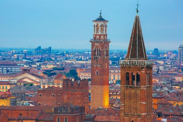 Santa anastasia church and lamberti tower in verona, italy