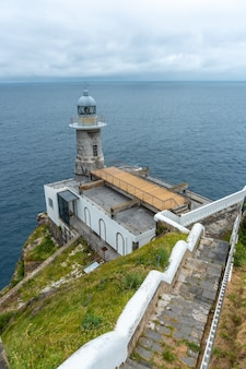 Santa catalina de lekeitio lighthouse on a cloudy spring morning, with the sea in the background, landscapes of bizkaia