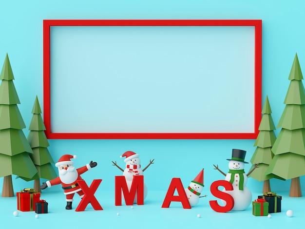 Санта-клаус и рождественский chalacter с буквами xmas 3d-рендеринга
