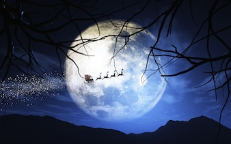 Santa Claus and his sleigh flying in a moonlit sky
