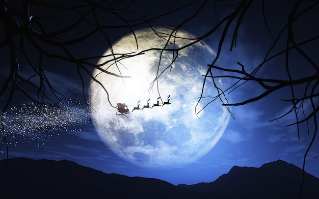 Санта-клаус и его сани, летящие в лунном небе