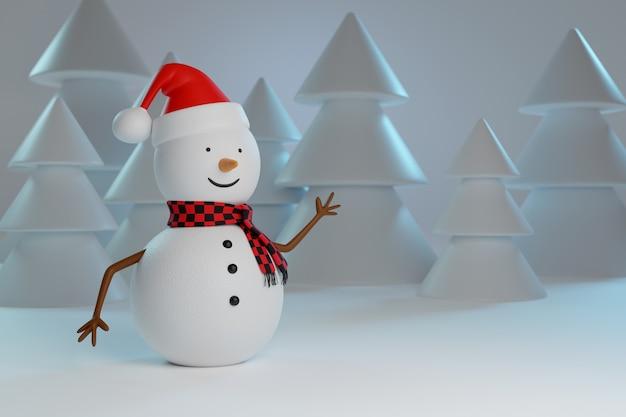 눈 덮인 나무 배경으로 빈 기호를 들고 산타 클로스와 눈사람. 크리스마스 개념입니다.