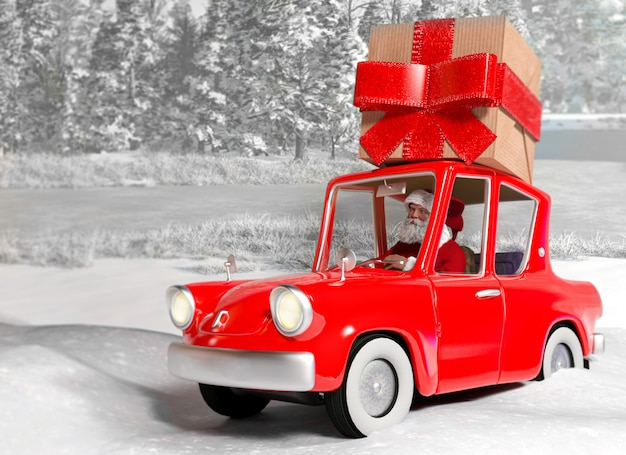 Santa claus in the car carrying a gift package on snow