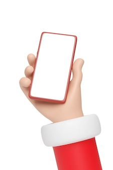 빈 화면으로 휴대 전화를 들고 산타 클로스 만화 손. 크리스마스 개념입니다.