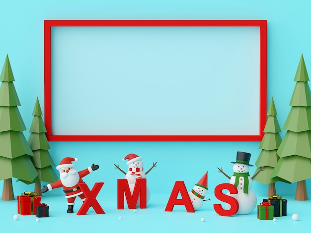 Santa claus and christmas chalacter with letters xmas 3d rendering