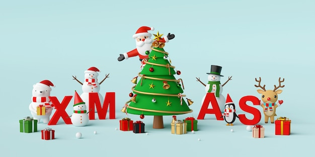 Santa claus and christmas character with letters xmas 3d rendering