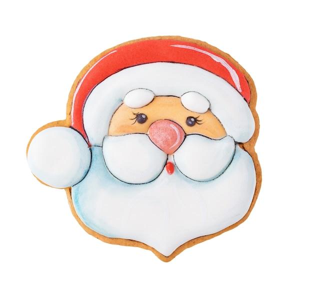 산타 클로스 크리스마스 쿠키 또는 클리핑 패스와 함께 흰색 배경에 고립 된 gigngerbread.