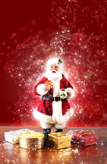 Santa claus decoration with red background. christmas party.