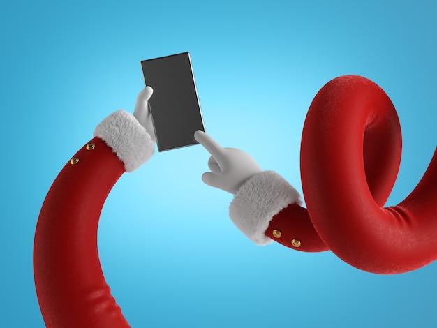 Гибкие руки санта-клауса в красных рукавах с белым мехом держат черный мобильный телефон