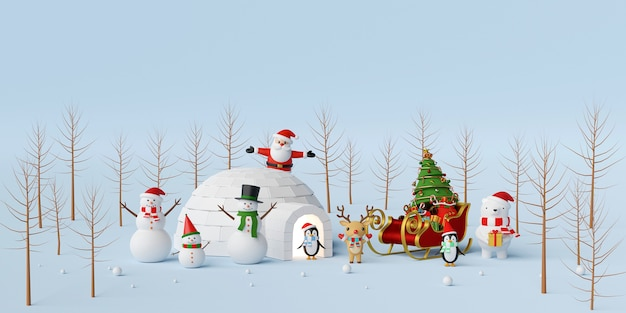 Santa claus and friends 3d rendering