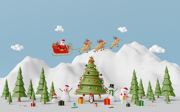 Santa claus and friends at the snow mountain 3d rendering