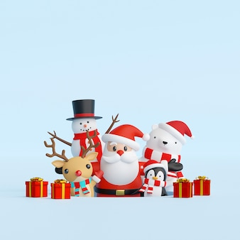 Santa claus and friends with christmas gift 3d rendering