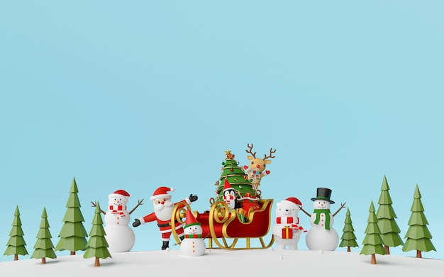 Santa claus and friends with sleigh full of gifts in pine forest background