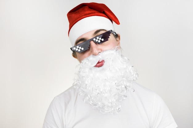 Santa claus in funny pixelated sunglasses