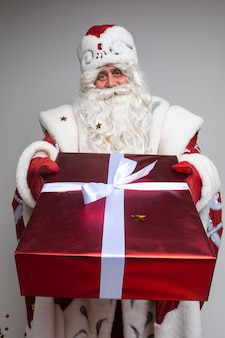 Santa claus giving xmas  present