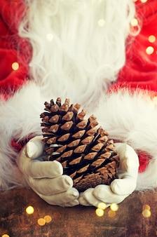 Santa claus hand holding bird house