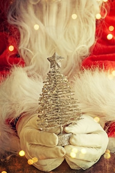 Santa claus hand holding christmas tree