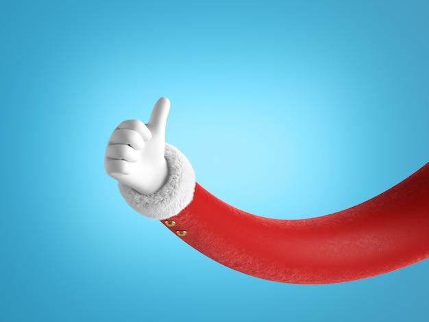 Santa claus hand shows thumb up