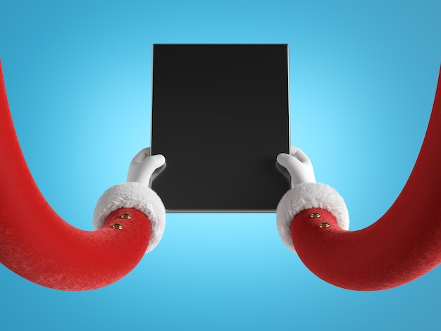 Руки санта-клауса в красных рукавах с белым мехом держат черное мобильное устройство