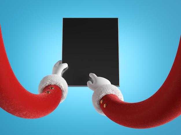 Руки санта-клауса в красных рукавах с белыми перчатками держат пустое черное мобильное устройство