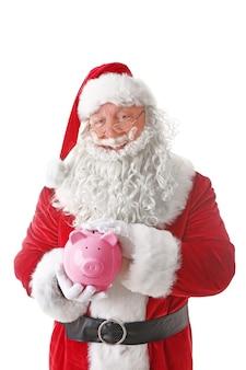 돼지 저금통 배경을 들고 산타 클로스