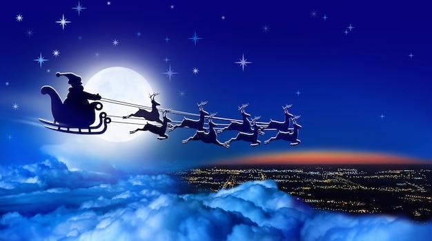 썰매와 순록 썰매를 탄 산타클로스는 밤하늘에 보름달을 배경으로 지구 위로 날아간다
