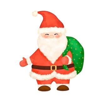 Санта-клаус изолированных иллюстрация запасов, акварель санта-клаус с подарками