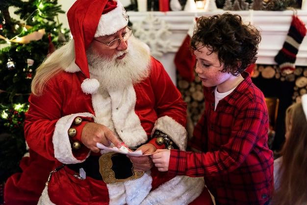 Santa claus and kid
