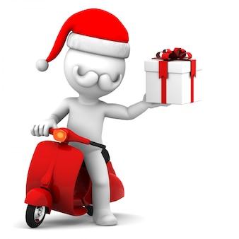 Санта-клаус на скутере с подарочной коробкой