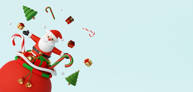 Santa claus pop out of the gift bag 3d rendering