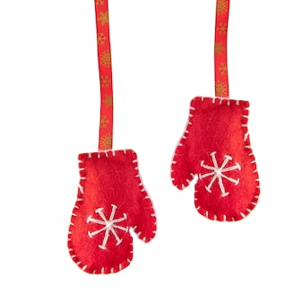 Santa claus red gloves handmade.
