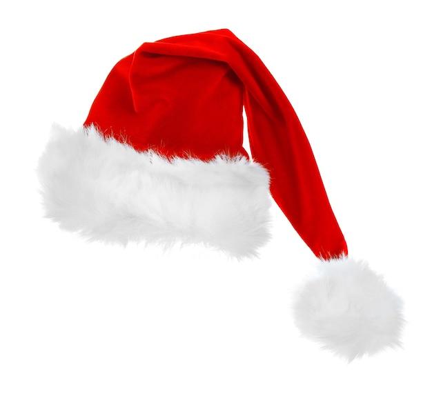 サンタクロース赤い帽子は白い背景で隔離、クローズアップ