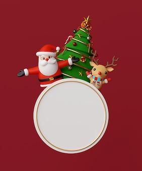 Santa claus and reindeer 3d rendering