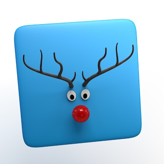 Santa claus reindeer icon isolated on white background. christmas. app. 3d illustration.