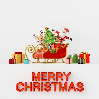 Santa claus and reindeer with sleigh full of gifts 3d rendering
