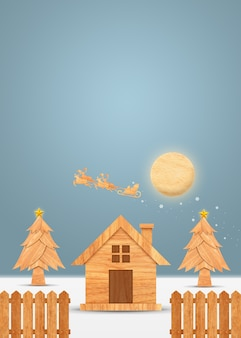 Santa claus on the sky coming city village with christmas tree and golden star in winter s