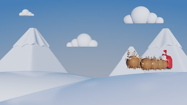 Santa claus in sleigh and reindeer sled on snow mountain, christmas concept