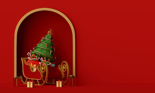 Santa claus sleigh with christmas tree full of gift box 3d rendering