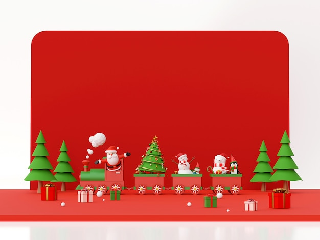 Santa claus and snowman on christmas train 3d rendering