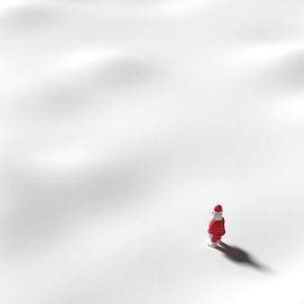 Santa Claus stands on snow. In winter with snow