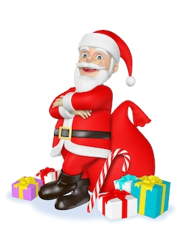 Santa claus stands with his arms crossed and prepares presents for the children on christmas day3d